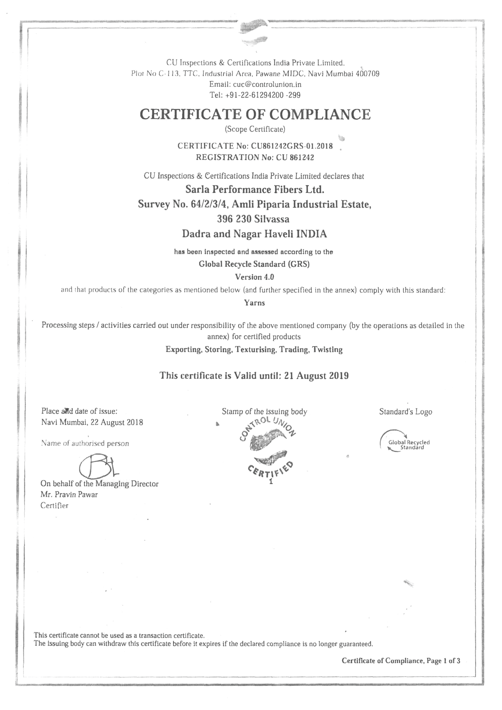 Global Recycle Standard (GRS) Certificate