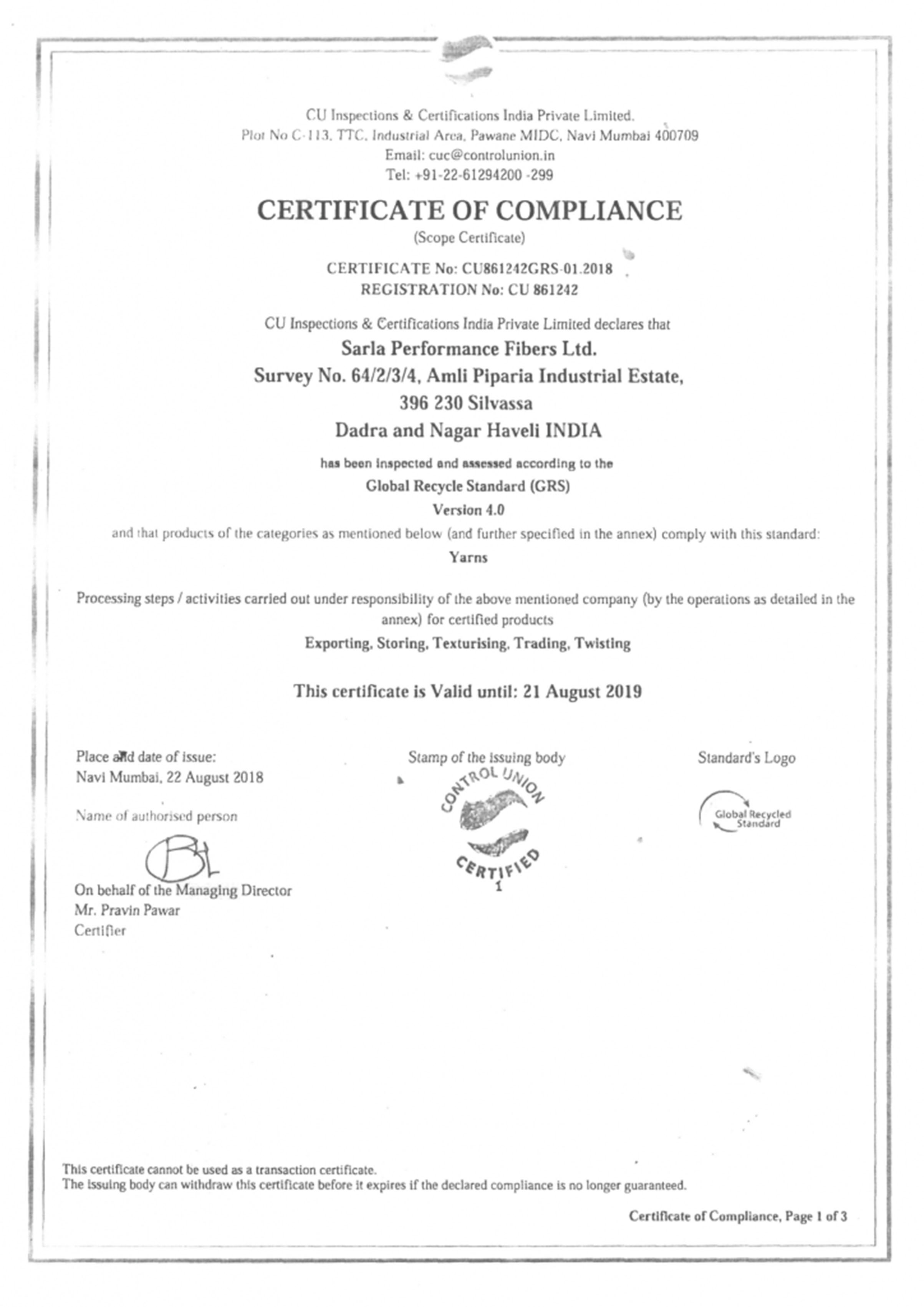 Sarla fibers-Global Recycle Standard (GRS) Certificate